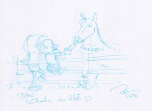 Toni & Charlie mit Pferd